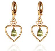 Gold plated bronze zircon Drop Earrings ER0185 - Heart Shaped