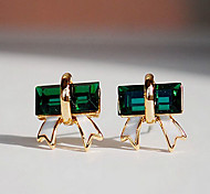 Fashion (Triangle  Drop) Gold Silver-Plated Gem Drop Earrings(Green)