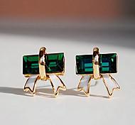 Fashion (Triangle  Drop) Gold Silver-Plated Gem Drop Earrings(Green)