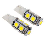 T10 2W 9x5060SMD 100-150LM 6000-6500K luz blanca fría del bulbo para el coche (12V) LED