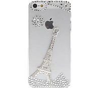 Silver Eiffel Tower with Diamonds Covered Transparent Case for iPhone 5/5S