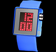 Unisex LED Pixel Digital Mirror Face Silicone Band Wrist Watch (Assorted Colors)