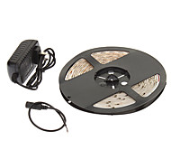 Waterproof 5M 24W 60x3528SMD 900-1200LM 2800-3200K Warm White Light LED Strip Light with 12V 2A Adapter