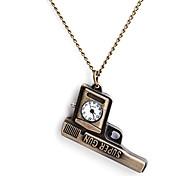 Frauen quadratische Quarz Analog Alloy Halskette Uhr