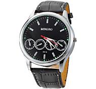 Men's Round Dial PU Band Quartz Analog Wrist Watch (Assorted Colors)