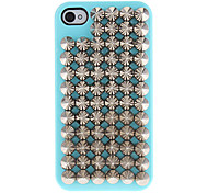 Silver Pointed Rivets Covered Hard Case with Glue for iPhone 4/4S (Assorted Colors)