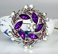 Women's Fashion Purple Crystal Silver Plated Brooch