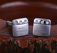 Personalized Gift Squared Engraved Cufflinks with Rhinestone