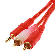 JSJ® 1.8M 5.904FT 3.5mm Stereo Male to 2 RCA Male Audio Cable - Red