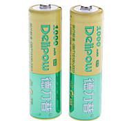 Delipow 1000mAh recargable de la batería del AA (2 unidades)