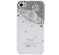 Beautiful Saturn with Diamond Covered Transparent Hard Case with Glue for iPhone 4/4S (Assorted Colors)