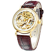 Men's Auto-Mechanical Hollow Engraving Round Dial Pu Band Analog Wrist Watch (Assorted Colors)