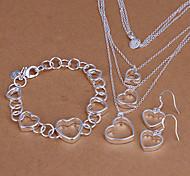 Sweet Silver Plated (Necklace & Bracelet & Earrings) Jewelry Set (Silver)