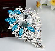 Women's Fashion Blue Crystal Silver Plated Brooch (Random Color)