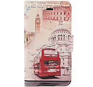 Vintage Bus and Building Pattern PU Full Body Case with Card Slot and Stand for iPhone 4/4S