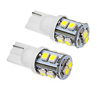 2 Pcs T10 1W 10x3020SMD 70-90LM 6000K Cool White Light LED Bulb (12V)