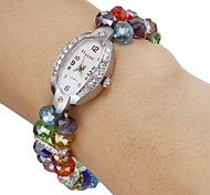Da Mulher Diamante Elliptic Dial colorido de cristal banda quartzo analógico pulseira relógio