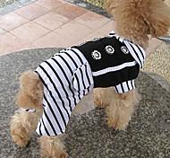 Eleganti Stripes Gentleman pantaloni con bottoni dei fiori per animali Cani (colori assortiti, misure)