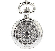 Women's Hollow Cover Silver Alloy Quartz Analog Necklace Watch