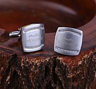 Personalized Gift Rectangle Engraved Cufflinks with Rhinestone
