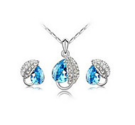 Leaf Crystal Earrings & Necklace Jewelry Set