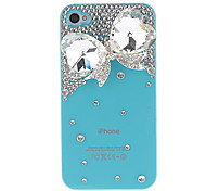 Crystal Butterfly with Diamond Covered Hard Case with Glue for iPhone 4/4S (Assorted Colors)