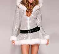 Silver Furry Women's Christmas Hooded Dress