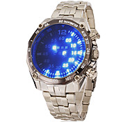 Men's Blue Led Digital Round Dial Steel Band Wrist Watch