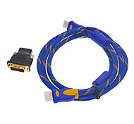 HDMI 1.4 Ethernet Cable Blue(1M)+DVI 24+1 to HDMI M/F Adapter for PS3 HDTV Full HD