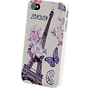 Butterfly and Flower Eiffel Tower Back Case for iPhone 4/4S