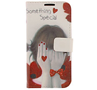 Shy Girl Drawing Pattern Faux Leather Hard Plastic Cover Pouches for Samsung Galaxy S4 I9500