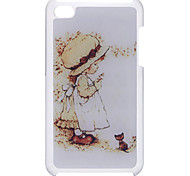 Cartoon Style Little Girl and Cat Pattern Epoxy Hard Case for iPod Touch 4