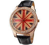 Unisex Golden American Flag Dial Black PU Leather Band Quartz Analog Wrist Watch