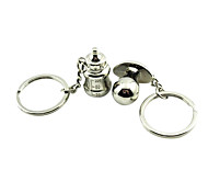 A Pair Wedding Style Feeding-bottle Shaped Silver Keychains