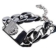 Fashion Unisex Lion Head Alloy Curved Id Bracelet(Gold,Silver)