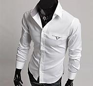 Мужской Рубашка На каждый день,Смесь хлопка,Длинный рукав,Черный / Белый