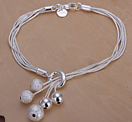 Sweet 20cm Women's Silver Copper Charm Bracelet(Silver)(1 Pc) Jewelry