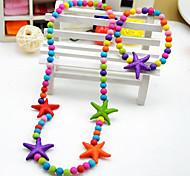 Girl's Cute Starfish Jewelry Set (Necklace&Bracelet)(Random Color)