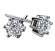 Lovely 925 Sterling Silver Zircon Stud Earring