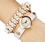 diamante decoração de couro banda quartzo analógico pulseira relógio das mulheres (cores sortidas)