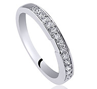 Women Right Finger 925 Sterling Silver Band Ring With Zircon