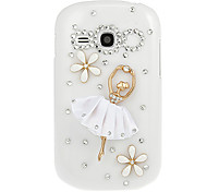 Lady Dancer Diamond Spot Drill Pattern White Hard Back Case Cover for Samsung Galaxy Fame S6810