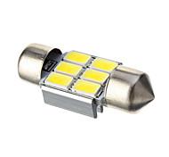 Festoon 3W 6x5730SMD 210LM 6000K Cool White Light LED Bulb for Car (DC 12V,1 pcs)