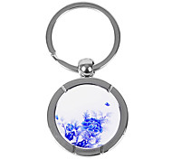 Personalized Engraved Gift Creative Blue and White Flower Pattern Keychain