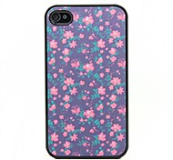 Purple Flower Pattern Black Frame PC Hard Case for iPhone 4/4S