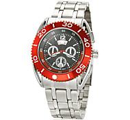 Herren-Stahl-Gehäuse, Silber, Stahl Band Rechenschieber Quarz Analog Armbanduhr (verschiedene Farben)