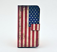 Vintage Us Flag Pattern Full Body Leather Tpu Case for iPhone 5C
