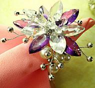 Страна стиле цветок акриловые бусины Салфетка кольцо, Dia4.2-4.5cm набор из 12