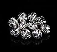 Classic Round Silver Alloy Beads 20 Pcs/Bag (Silver)