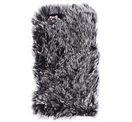 Ladies' Graceful Rex Rabbit Fur Covered Hard Case with Diamond Camera Chrome for iPhone 5/5S (Assorted Colors)